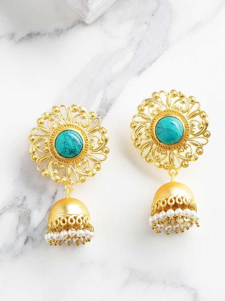 Turquoise Blue Gold-Plated Handcrafted Stone Studded Beaded Dome Shaped Jhumkas