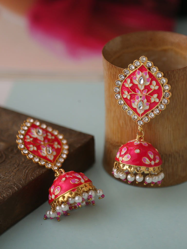 Infuzze Pink Meenakari Earrings
