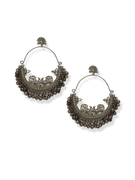 Infuzze Silver-Plated Oxidised Chandbali - Z0055