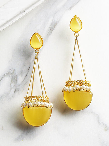 Yellow Gold-Plated Handcrafted Stone-Studded Beaded Geometric Drop Earrings