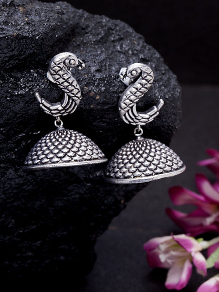 Silver-Toned Brass-Plated Oxidized Peacock-Shaped Jhumkas