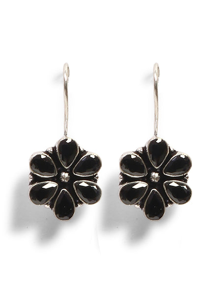 Infuzze Silver-Plated Oxidised Black Stoned Brass Drop Earrings - Z0059