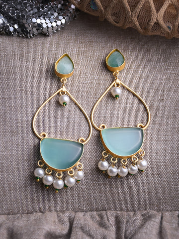 Green Contemporary Drop Earrings
