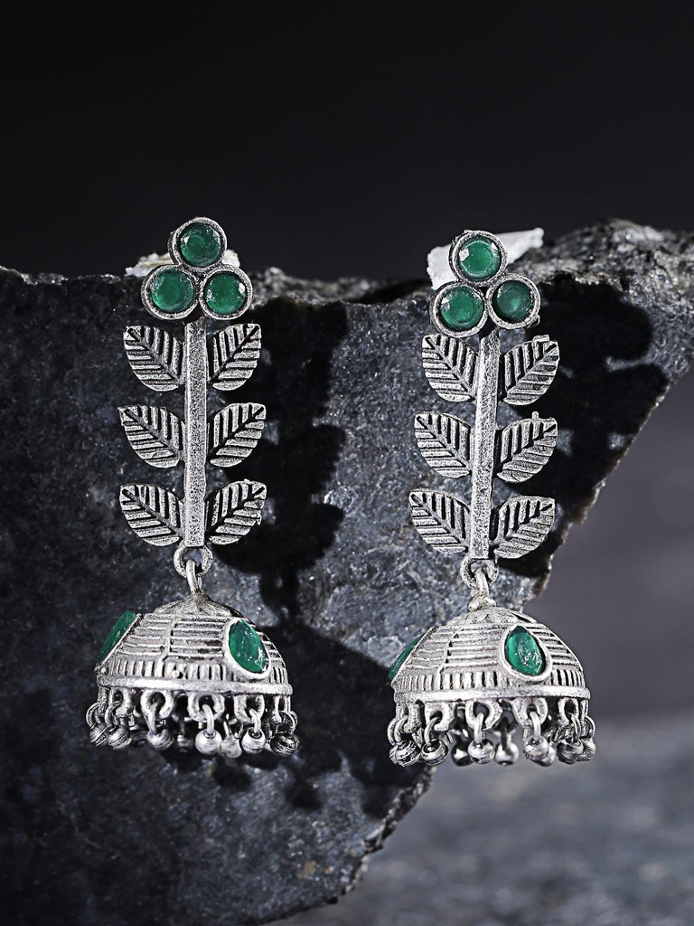 Green Oxidised Silver-Plated Textured Dome Shaped Jhumkas