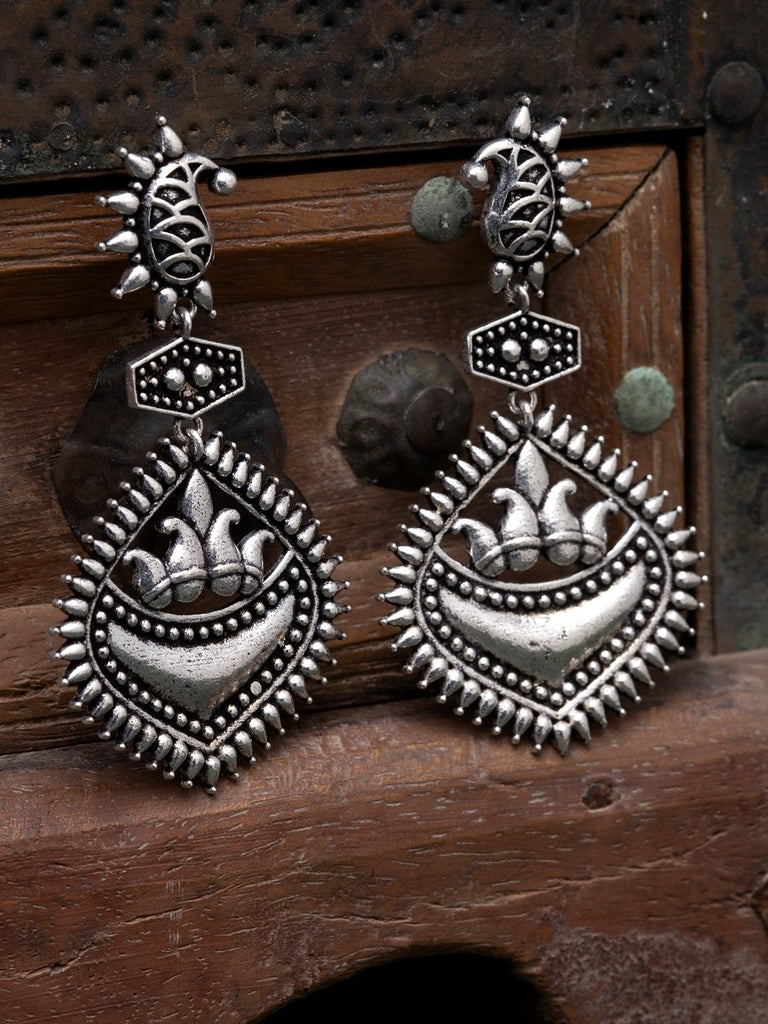 Oxidised Silver-Toned Brass-Plated Textured Paisley Shaped Drop Earrings