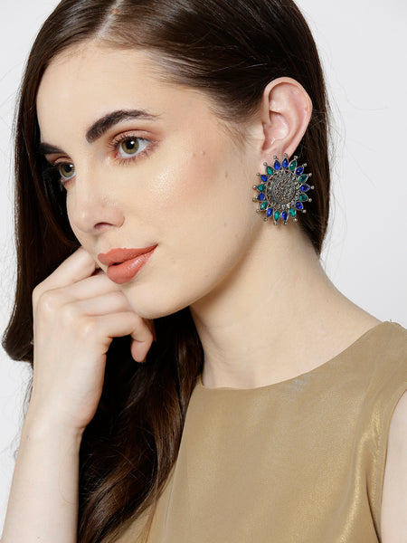 Infuzze Oxidised Silver-Toned & Blue Brass-Plated Stone-Studded Floral Drop Earrings - V015