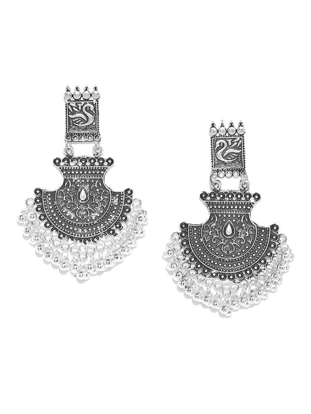 Infuzze Oxidised Silver-Toned Brass-Plated Textured Classic Drop Earrings - V024