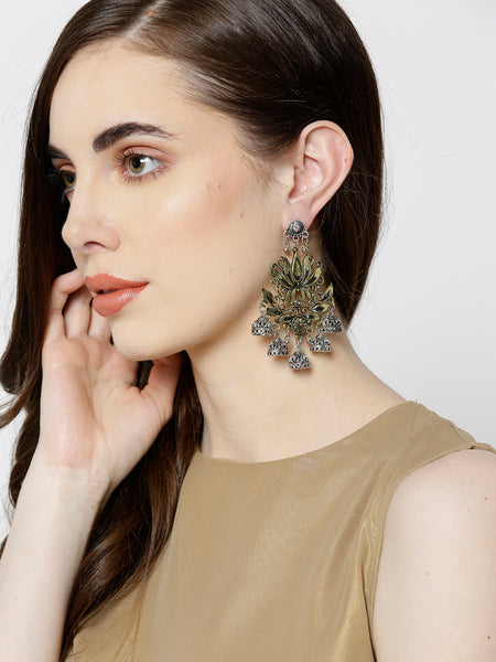 Infuzze Gold-Toned & Oxidised Silver-Toned Brass-Plated Floral Drop Earrings - V026