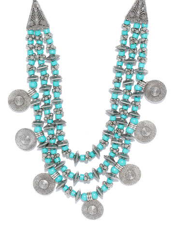 Infuzze Turquoise Blue & Oxidised Silver-Toned Layered Beaded Brass-Plated Necklace - V043