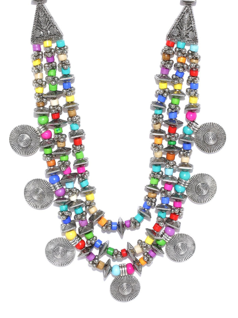 Infuzze Multicoloured Oxidised Brass-Plated Beaded Multistranded Necklace
