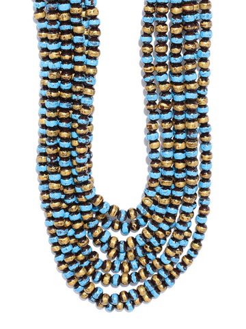 Infuzze Blue & Gold-Toned Brass-Plated Beaded Layered Necklace - V046