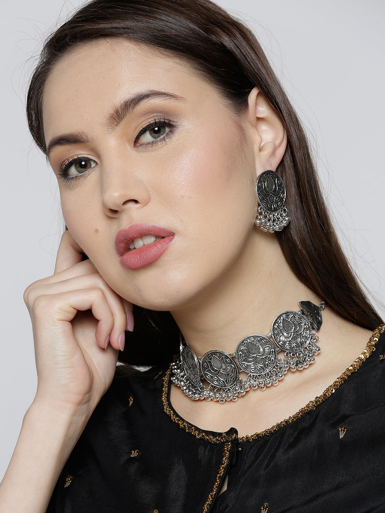 Infuzze Oxidised Silver-Toned Brass-Plated Textured Jewellery Set - V052