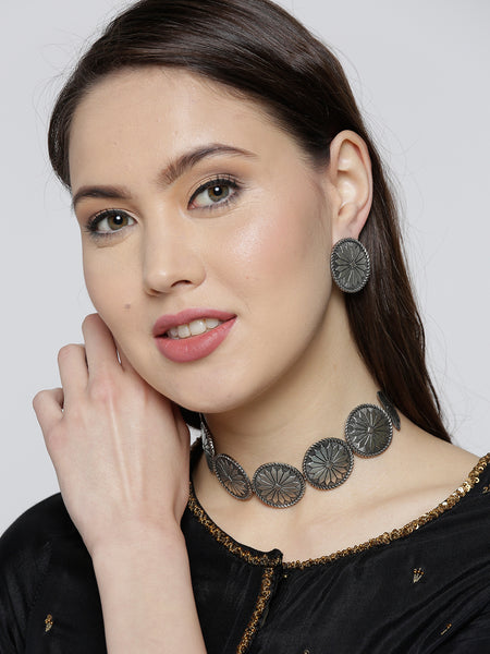 Infuzze Oxidised Silver-Toned Brass-Plated Textured Jewellery Set - V054