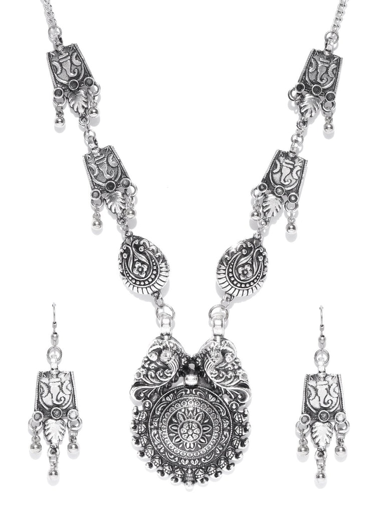 Infuzze Oxidised Silver-Toned Brass-Plated Peacock Shaped Jewellery Set