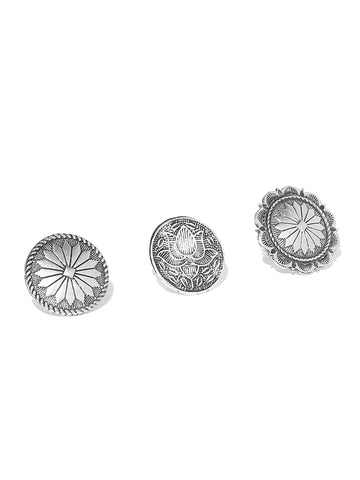 Infuzze Oxidised Set of 3 Silver-Toned Brass-Plated Textured Adjustable Rings - V057