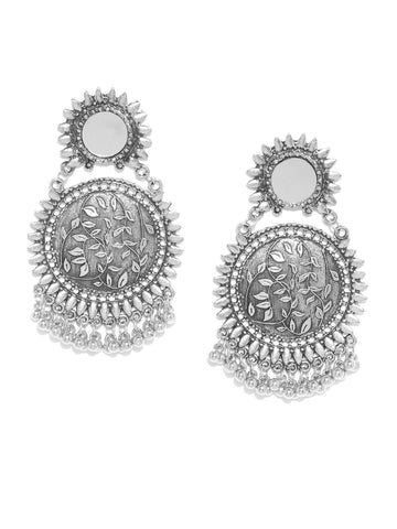 Infuzze Oxidised Silver-Toned Brass-Plated Textured Mirror-Work Circular Drop Earrings