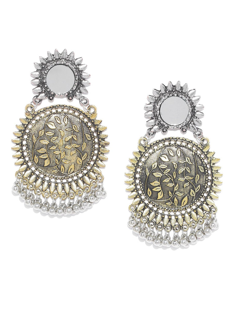 Infuzze Gold-Toned & Silver-Toned Brass-Plated Mirror-Work Detail Circular Drop Earrings
