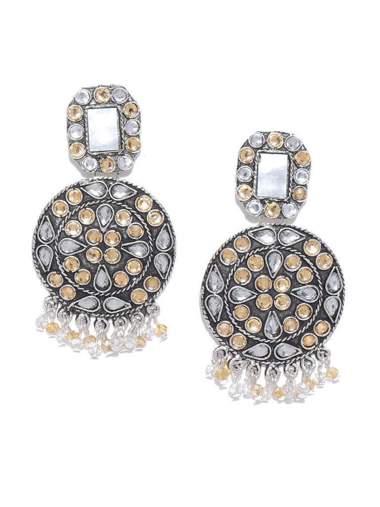 Infuzze Silver-Toned Brass-Plated Stone Studded Mirror-Work Detail Circular Drop Earrings - V061