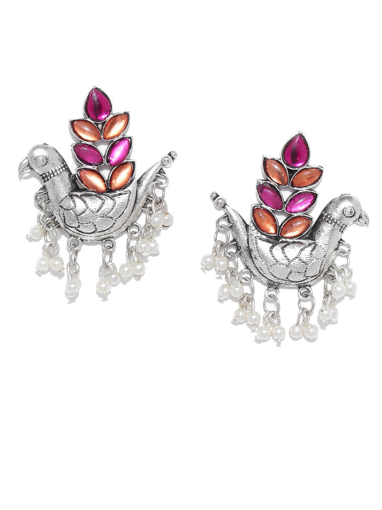 Infuzze Oxidised Silver-Toned & Pink Brass-Plated Stone-Studded Classic Drop Earrings
