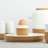 LIGA Cream Earthware collection - Egg cup, salt & pepper shakers, teapot and mug in cream ceramic and cork