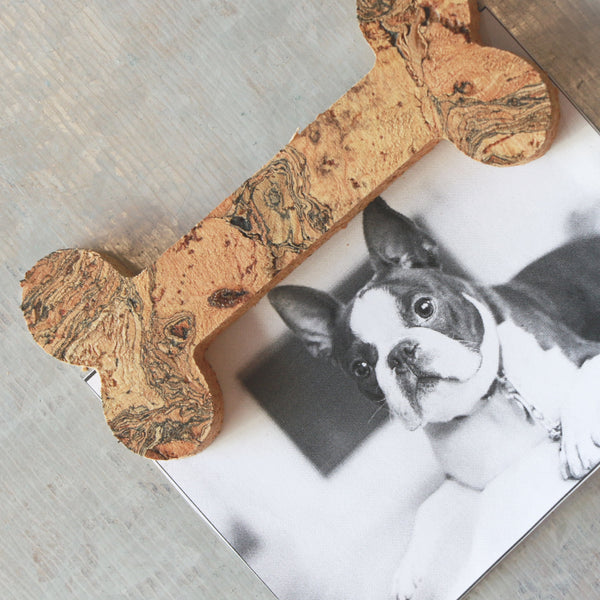 cork bone magnet with dog picture