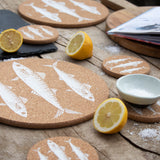 Eco Friendly cork placemat & coaster with a Mackerel design