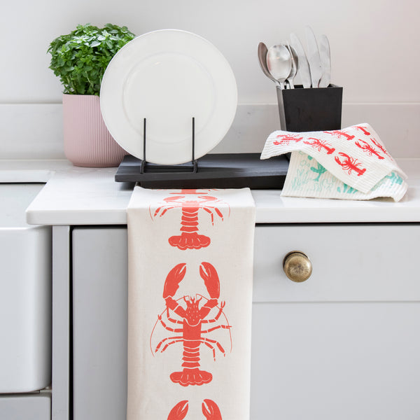 Organic Cotton Tea Towel with Lobster design and eco friendly compostable dishcloths