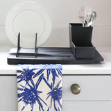 Eco Friendly compostable dishcloths & organic cotton tea towel in Sea Holly