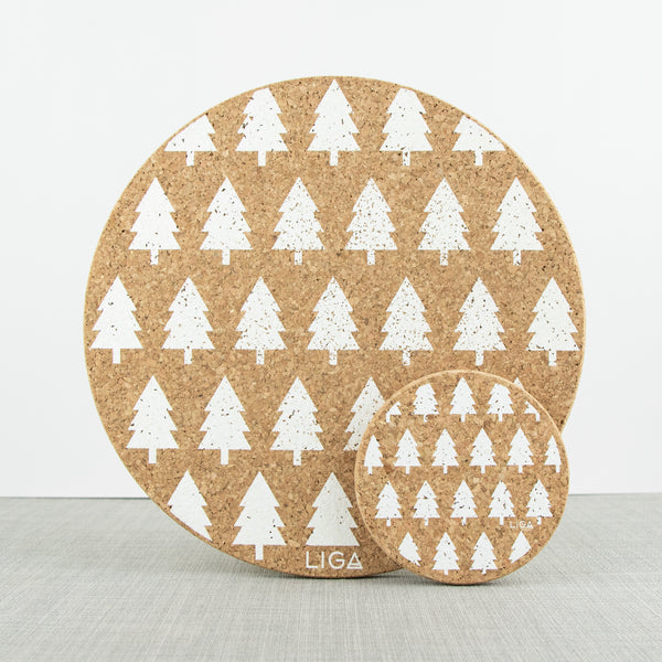LIGA eco living sustainable cork coaster and placemat with white printed tree design