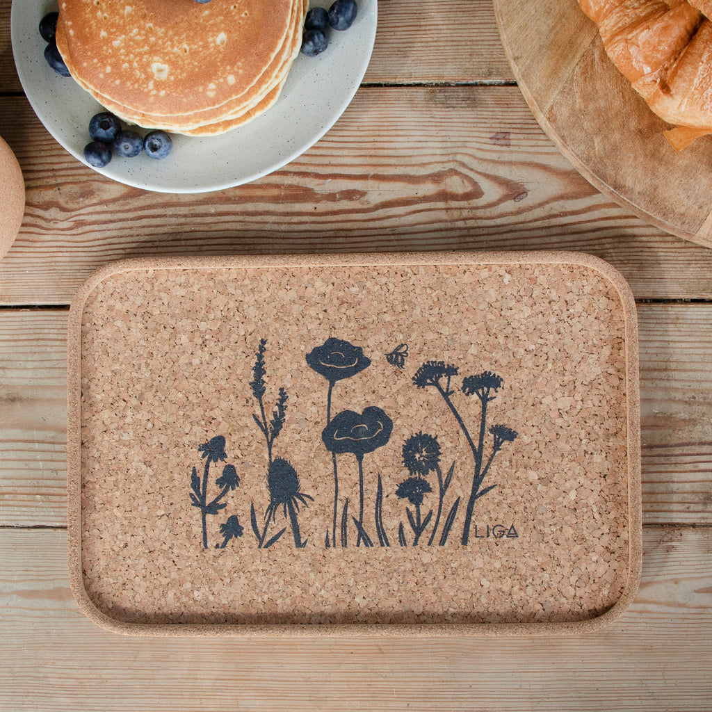 Wildflowers Tray made with eco friendly cork inspired by nature