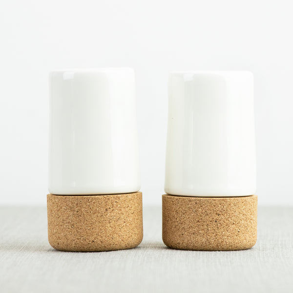 LIGA Eco Living Sustainable Cream Ceramic and Cork Salt and Pepper Shaker Set