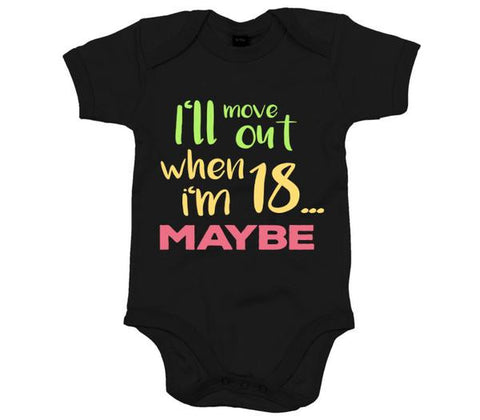 I'll move out when I'm 18, maybe Babygrow-Babygrow-Black-0-3 months-Eager Threads