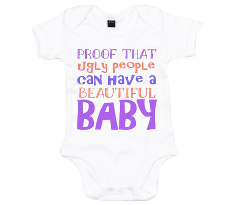 Proof that ugly people Babygrow-Babygrow-White-0-3 months-Eager Threads