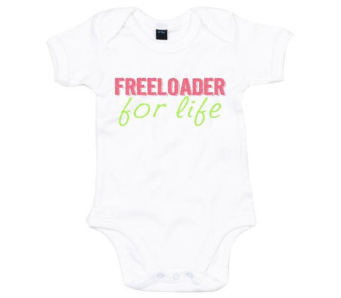 Freeloader for Life Babygrow-Babygrow-White-0-3 months-Eager Threads