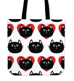 Hearts Black Cat Tote Bag