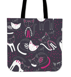 Purple Rest Cat Tote Bag