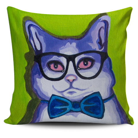Blue Cat with glass Pillow Cover
