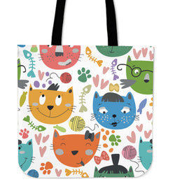 Vector Pattern Cat Tote Bag