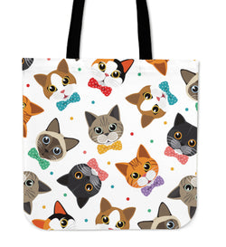 Colored Faces Cat Tote Bag