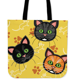 Seamless Cartoon Cat Tote Bag