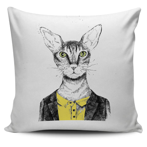 Cat with Yellow Shirt Pillow Cover