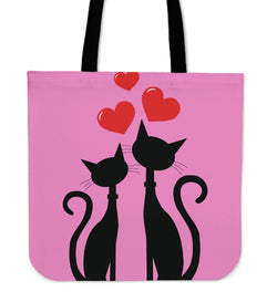 Pink Cats Love Tote Bag