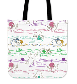 Lying Cats & Wool Cloth Tote Bag