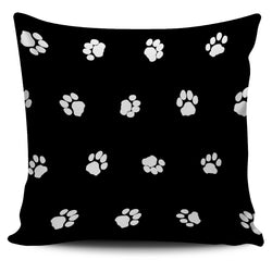 Black White Paws Cats Pillow Cover