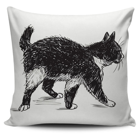 Black and White Cat Pillow Cover