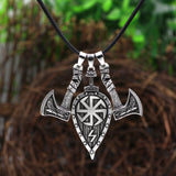 2 Axes and Shield Norse Viking Pendant