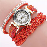 Fashion Braided Wrist Watch With Rhinestone