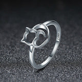 Elegant Cat Silver Ring
