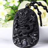Hand Carved Obsidian Dragon Pendant