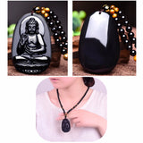 Hand Carved Obsidian Buddha Pendant